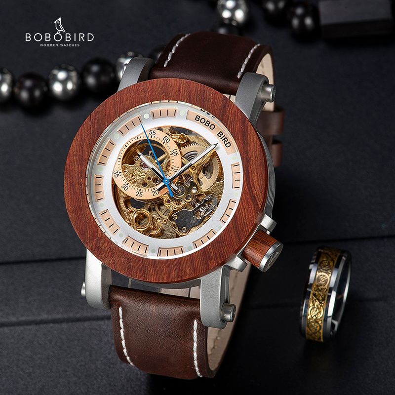 BOBO BIRD Brand Men Watches Red Wooden Gear Mechanical Watch Genuine Leather Strap Wristwatch relogio masculino Christmas Gift-in Mechanical Watches from Watches