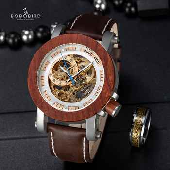 BOBO BIRD Brand Men Watches Red Wooden Gear Mechanical Watch Genuine Leather Strap Wristwatch relogio masculino Christmas Gift - DISCOUNT ITEM  49% OFF All Category