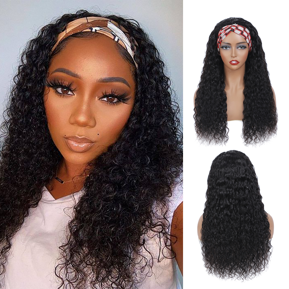 New Headband Wig  Wigs  Deep Wave 26 Inch  Machine Made  Natural Color Hair 150% Density 1