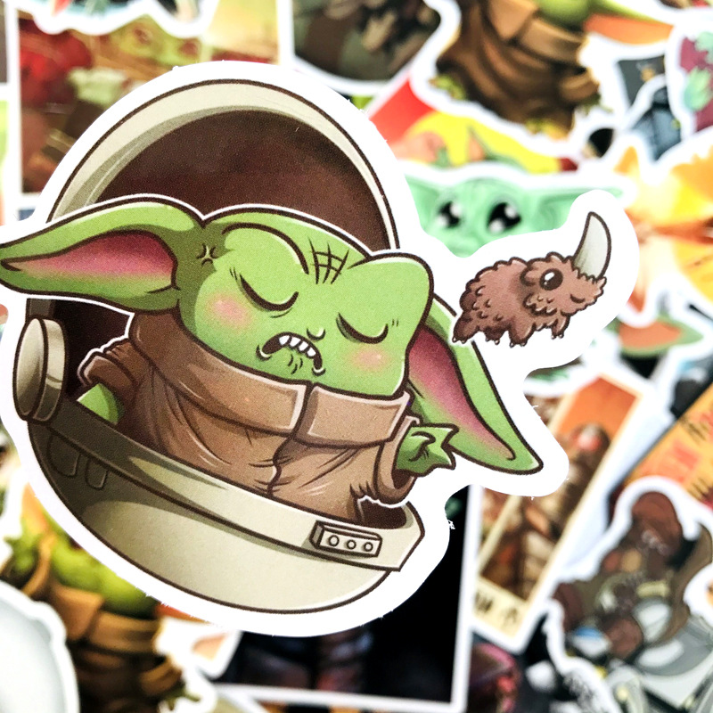10/25/40/50 Pcs Cartoon Baby Yoda Star Wars The Mandalorian Stickers Waterproof PVC Skateboard Luggage Motorcycle Toys Sticker