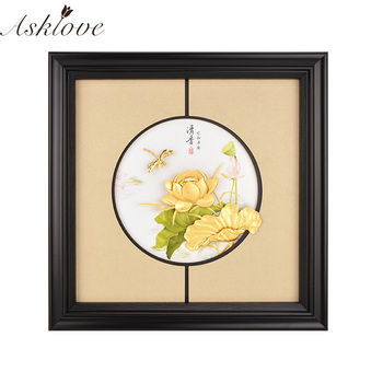 Traditional Chinese painting Gold Lotus Flower Framed pictures Gold Leaf Painting Wall decor Pictures Crafts Home Decor Gifts