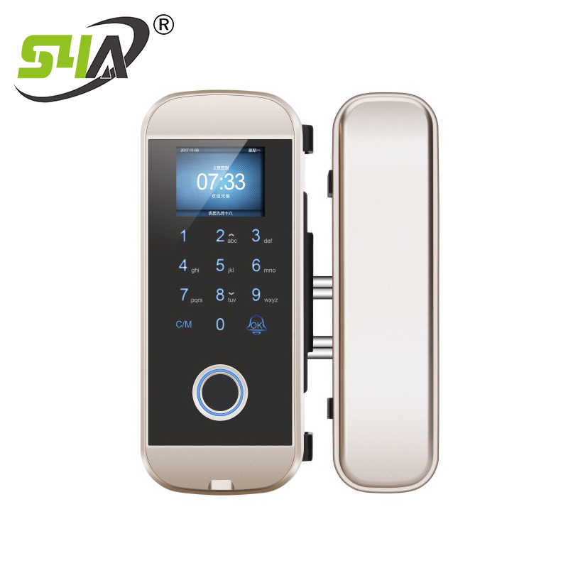 IGlass108 biométrique d'empreintes digitales sans cadre verre porte serrure bureau sans clé électrique carte à puce serrure de porte avec clavier tactile