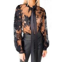 купить Echoine Sexy Lace Mesh Blouse Tops Black embroidery See Through Autumn Long Sleeve Bow Tie Elegant Mesh Shirt Blusas Tops по цене 881.88 рублей