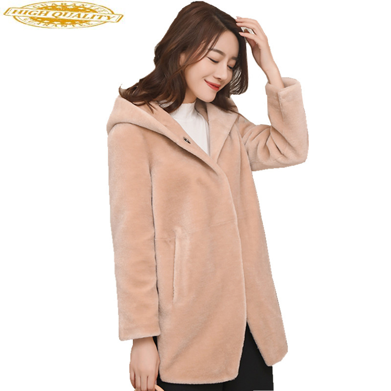 Women's Fur Coat With Hoods 2020 Casual Real Wool Coats Women Sheep Shearling Jackets Warm Winter Female Jacket WYQ1622