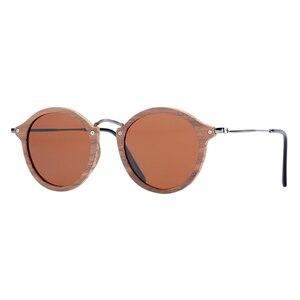 Image 3 - BARCUR Vintage Natural Black Walnut Sunglasses Round Polarized Wooden Sun Glasses Men Women Oculos De Sol Masculino