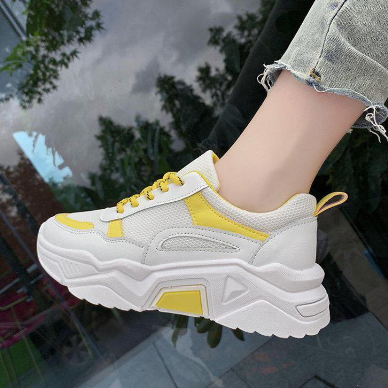 Spring Summer Mesh Cloth Fashion Breathable Non-slip Sneakers Women's Concise Shallow Mouth Thick Bottom Mixed Color Dad Shoes