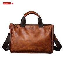 Men's Bag Soft Leather Woven Men Handbag