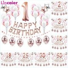 37pcs Ouro Rosa Número 1 2 3 4 5 6 7 8 9 10 16 18 21 25 30 40 50 60 1st Balões Decorações Da Festa de Aniversário Crianças Menino Menina Adulto