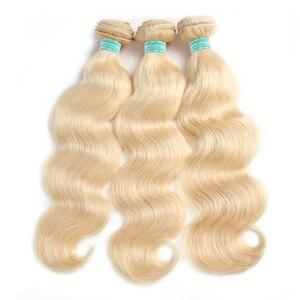 """Image 4 - Onda do corpo brasileiro pré colorido extensão do cabelo humano loira 613/#33/#30/#27/# 99j/# burg 10 """" 26"""" feixes de tecer cabelo humano remy"""