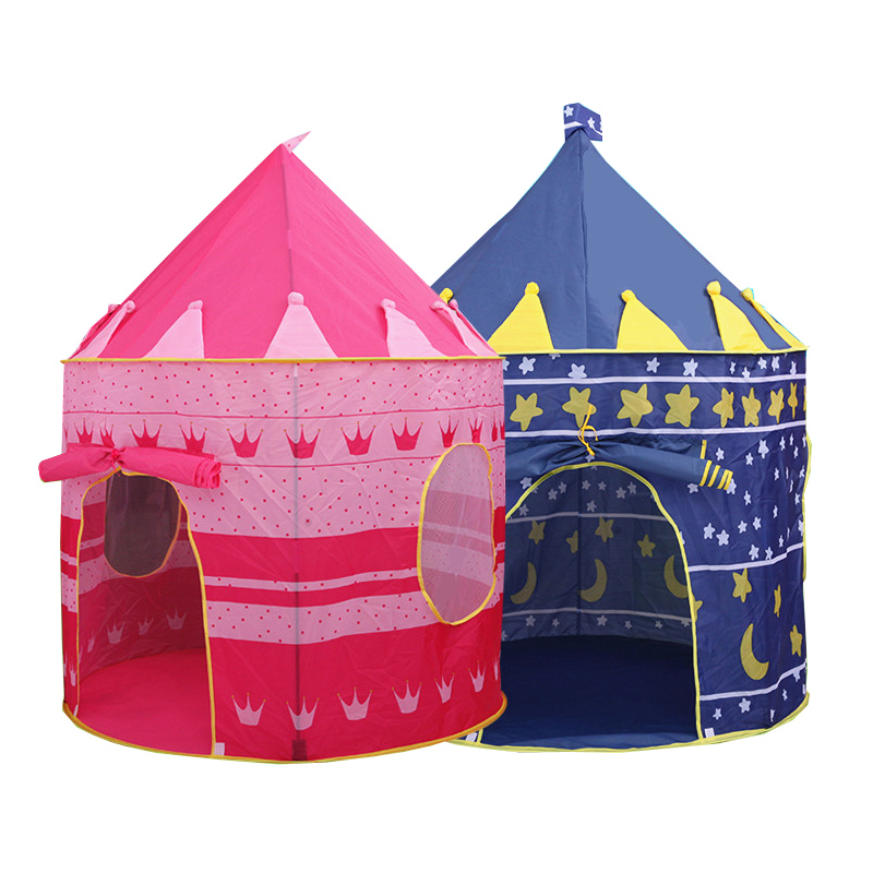 toy tent hot big pink and blue castle  toy tent  house  children toy - Camping and Hiking