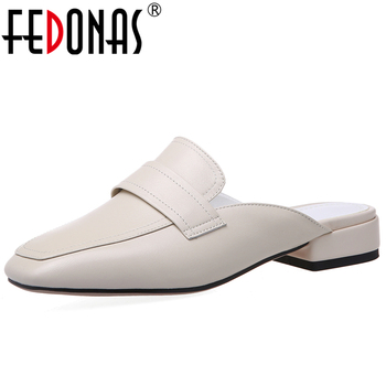 FEDONAS Women Cow Leather Sandals Half Slippers Solid Color Low Heel 2020 Spring Summer New Concise Casual Slip-On Shoes Woman