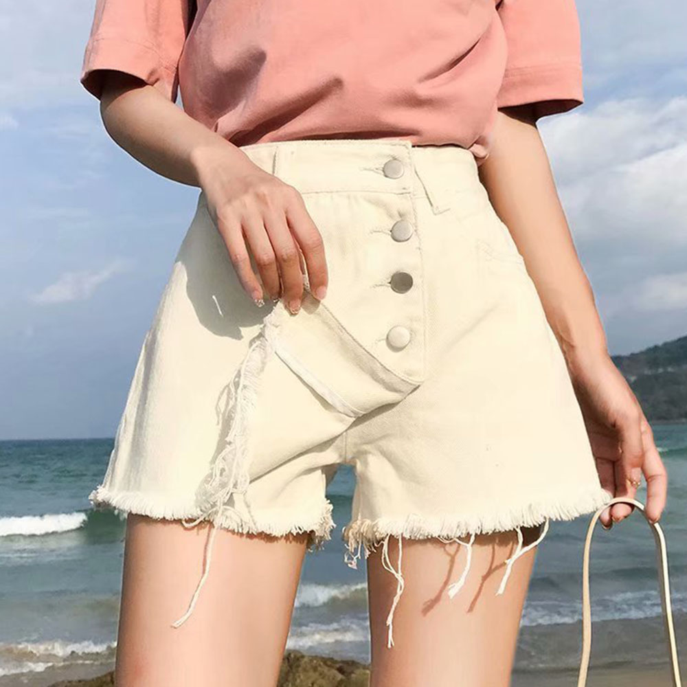WENYUJH Skirts Denim Shorts White Korean Vintage Wide Leg High Waist Female Loose Women's Summer Shorts Jeans Button 2020 New