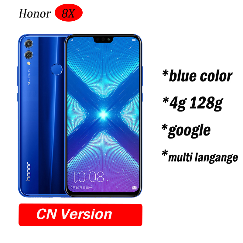 Глобальный Встроенная память Huawe Honor 8X6,5 ''полный экран ОТА обновление смартфон не 8x max мобильного телефона Android 8,1 Восьмиядерный отпечаток пальца ID - Цвет: 4g128 Blue