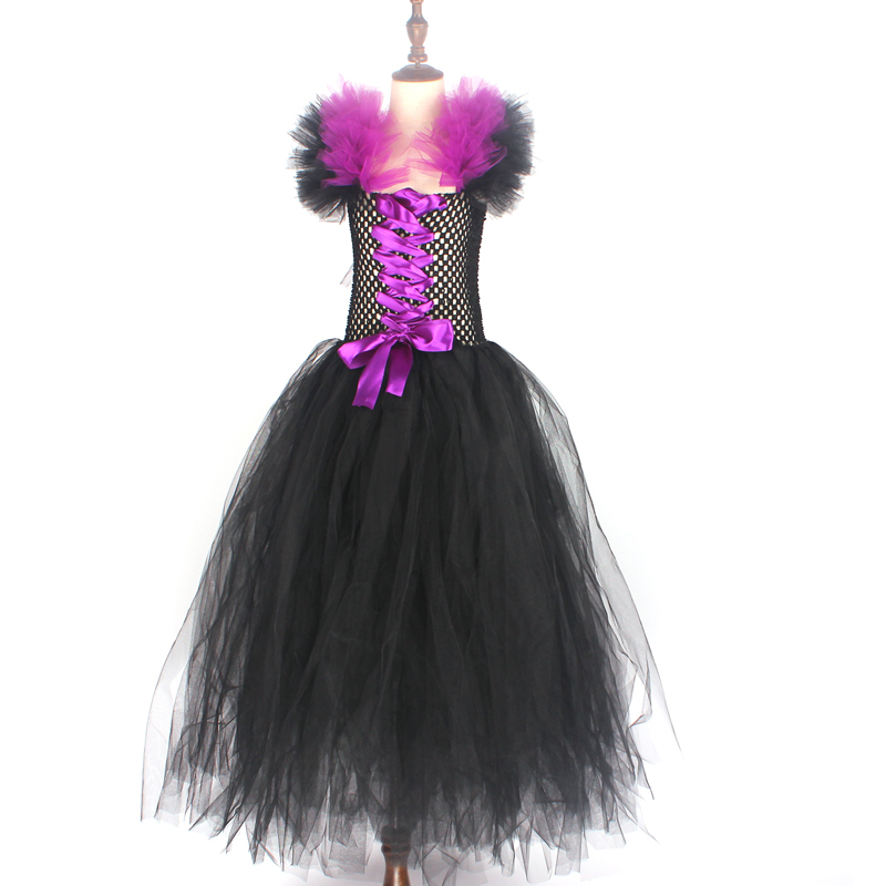 Maleficent Black Gown Tutu Dress with Deluxe Horns and Wings Girls Villain Fancy Dress Kids Halloween Cosplay Witch Costume (21)