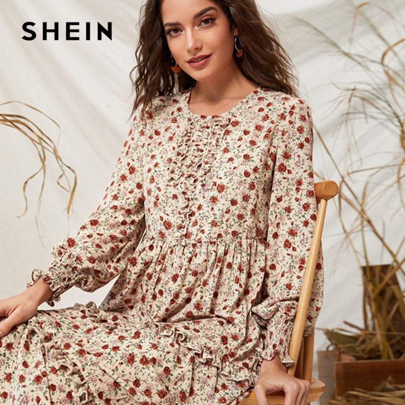 Image 5 - SHEIN Ditsy Floral Print Frill Trim Flared Dress Without Belt 