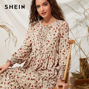 Image 5 - SHEIN Ditsy Floral Print Frill Trim Flared Dress Without Belt Women Autumn Long Sleeve High Waist Ladies Elegant Long Dresses