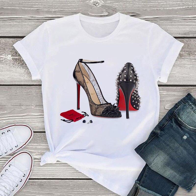 White T Shirt Women Tops Fashion Tshirt High Heel Shoes Print Tshirt Female 2020 Summer Short Sleeve Tee Shirt Femme Clothing