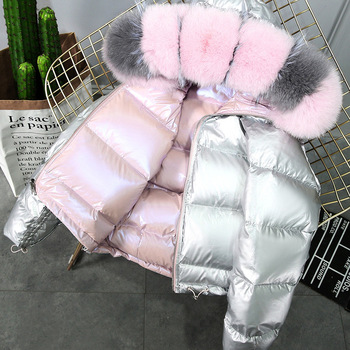 New winter 2019 new big hair collar double face net red bright silver coat women's short fox down jacket image