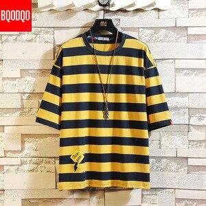 Oversized Hip-hop Casual Fashion T-shirt Male Cotton Short Sleeve Stripe Fitness Tee Men Blue Summer Streetwear Harajuku T shirt(China)