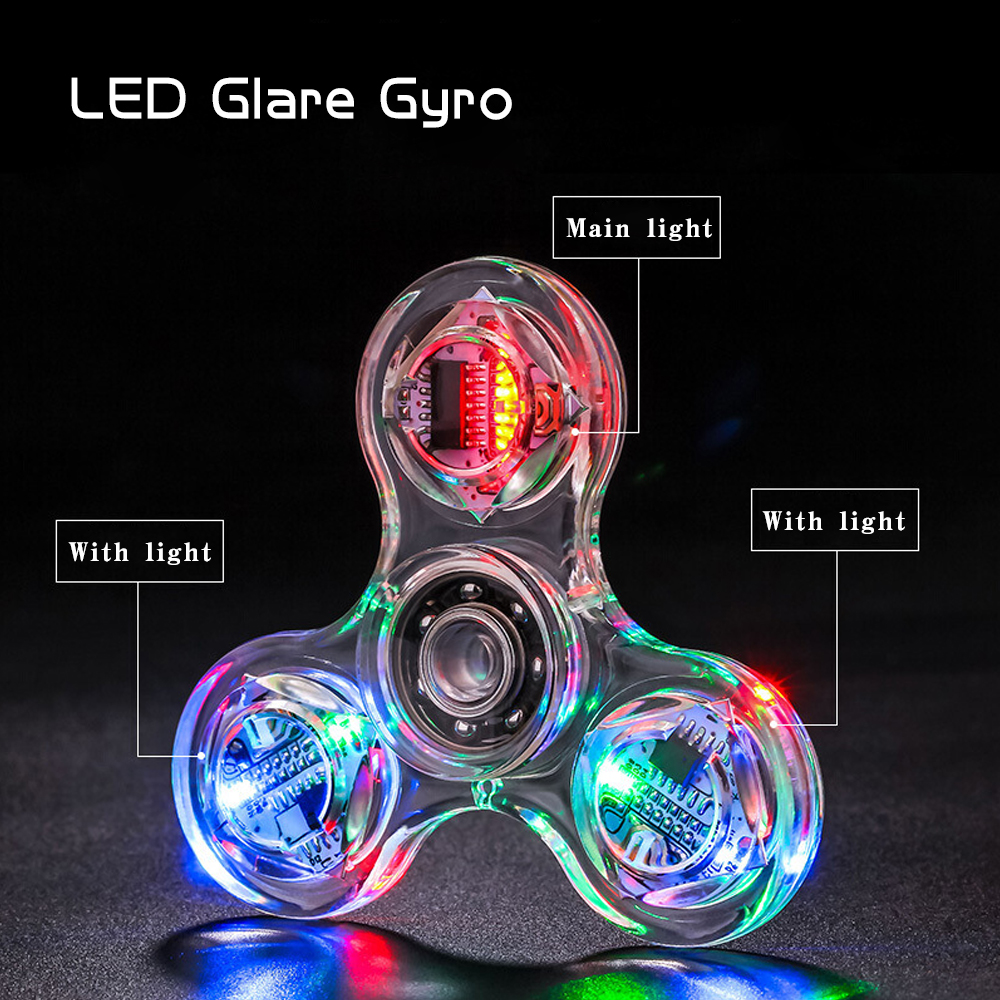 Allure Fidget Spinner Hand Top Spinners Glow In Dark Light Figet Spiner Finger Light LED Flash Transparent Decompression Toys E