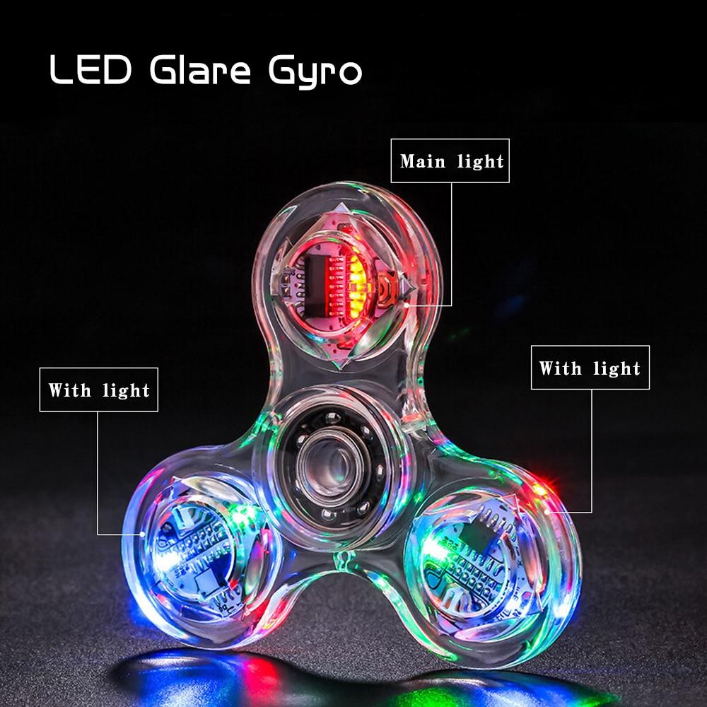 Allure Fidget Spinner Hand Top Spinners Glow In Dark Light Figet Spiner Finger Light LED Flash Transparent Decompression Toys E