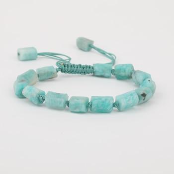 10Pcs/Lot Natural Amazon Stone Nugget Beads Cord Knotted Braided Adjustable Bracelet Women Mala Bracelet Jewelry N0282AMBI