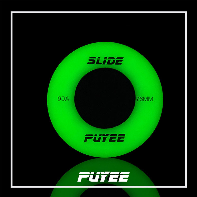 【72 76 80mm】original PUYEE Green Flourescent Skating Wheel Blue 90A Glue Flash Shine Wheels Luminous For Sliding Roller Patines