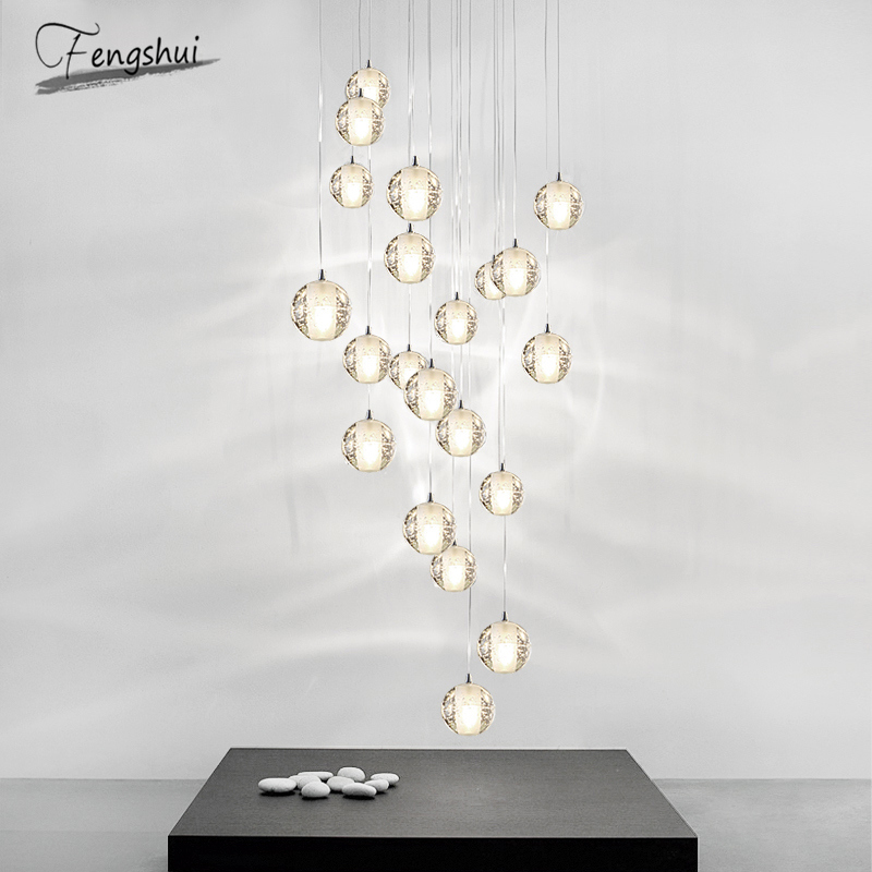 Modern Crystal Ball Pendant Lights Home Luxury Decor Pendant Lamp Living Room Restaurant Hotel Villa Stairs Hanging Lamp Fixture