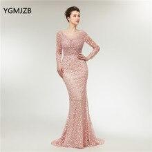 Lange Mouwen Avondjurken Luxe 2020 Mermaid Zware Kristallen Kralen Kant Arabische Vrouwen Formele Party Prom Jassen