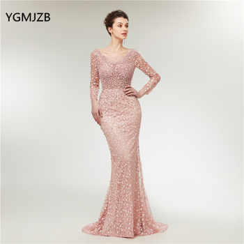 Luxury Pink Evening Dresses Long Sleeves Mermaid Lace Pearls Dubai Saudi Arabic Formal Evening Gown Prom Dress Robe de Soiree - DISCOUNT ITEM  52% OFF All Category