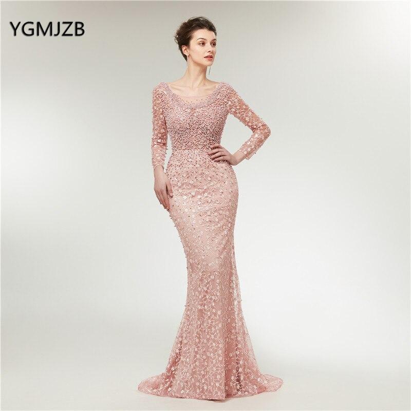 Robes de soirée de luxe rose manches longues sirène dentelle perles Dubai saoudien arabe formelle Robe de soirée Robe de bal Robe de soirée