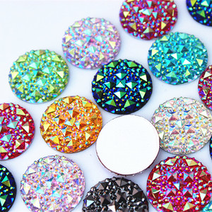 Cong Shao 50Pcs 20mm Round Shape AB Resin Rhinestones Applique Stones And Crystal Gems Flatback For Costume Button Crafts ZZ754