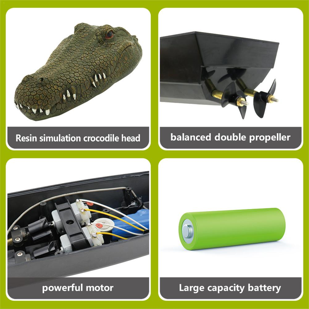 2.4GHz Spoof Toy Simulation RC Crocodile Boat Remote Control Speedboat For Drive Waterfowl And Protect The Pool