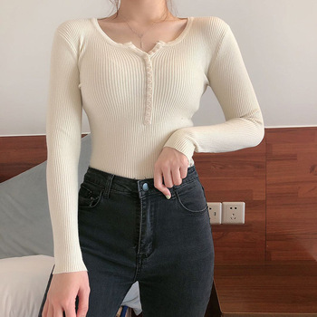 2020  Women  Basic Slim Pullover  Sweater and Pullover Knitted Pullover Ladies Top Winter Sweaters Top Knitted pullover frayed hem knitted top