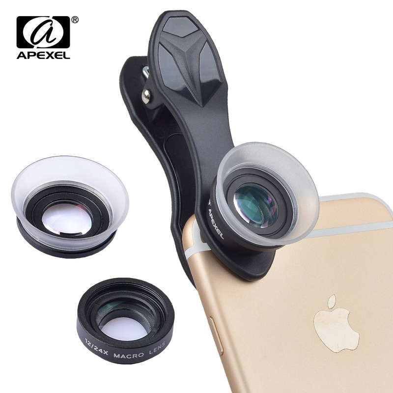 APEXEL Phone Camera Lens 2 In 1 Clip-On 12 X Macro + 24 X Super Macro Lens Kit for Iphone Huawei Xiaomi and More Smart Phone