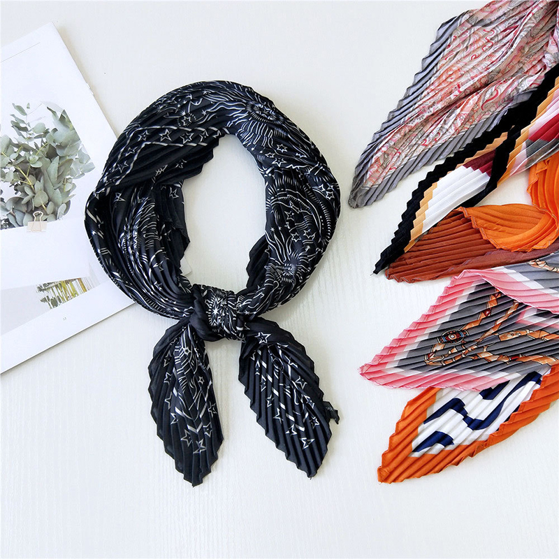 Pequeño pañuelo de seda con pliegues para mujer, pañuelo pequeño de gasa con estampado Floral de arco iris, estilo bohemio, 70x70cm