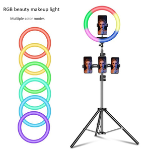 Image 2 - 33cm RGB Ring Light with Phone Clip Dimmable Selfie Light Portable Makeup Lamp LED Desk Fill Light for Smartphone