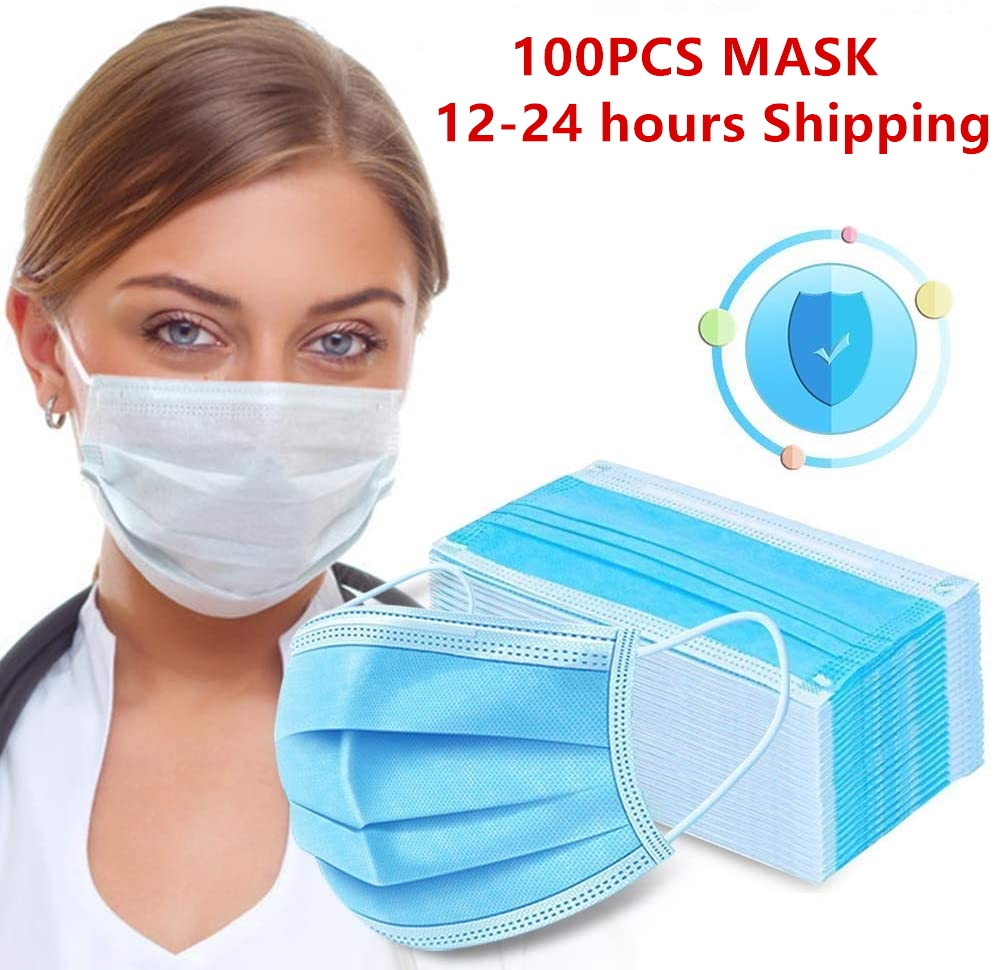 24 Hours Shipping 100Pcs Disposable Anti Dust Protective Mask 3 Protect Layers Filter Earloop Mouth Dustproof Mask Respirator