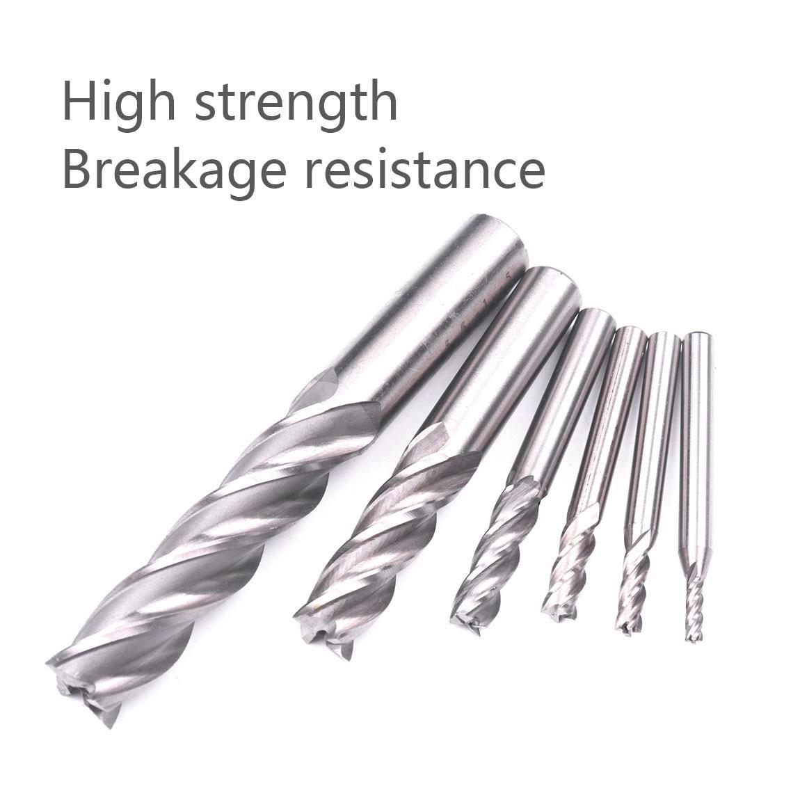 6pcs HSS Endmill Straight Shank 4 Flute HRC63-65 Metal Cutter End Mill CNC Milling Cutter Machine Tools