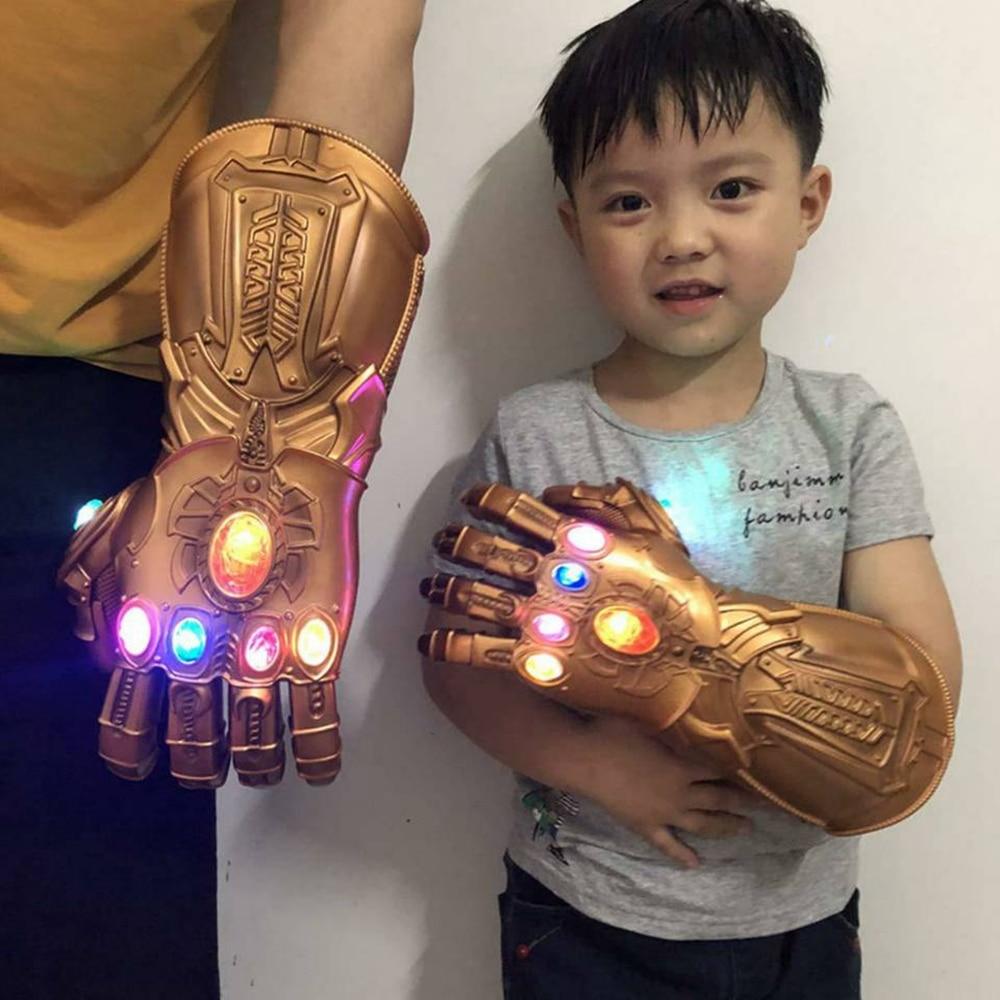 Thanos Infinity Gauntlet Light Glove Superhero Avengers Cosplay Gloves LED PVC Glove Kids Adult Carnival Costume Props