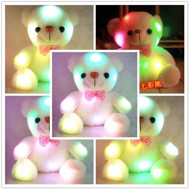 Красочный светящийся плюшевый мишка, 22 см, светящиеся плюшевые игрушки, светодиодный медведь, мягкая плюшевая кукла, игрушка, мишка тедди, м...