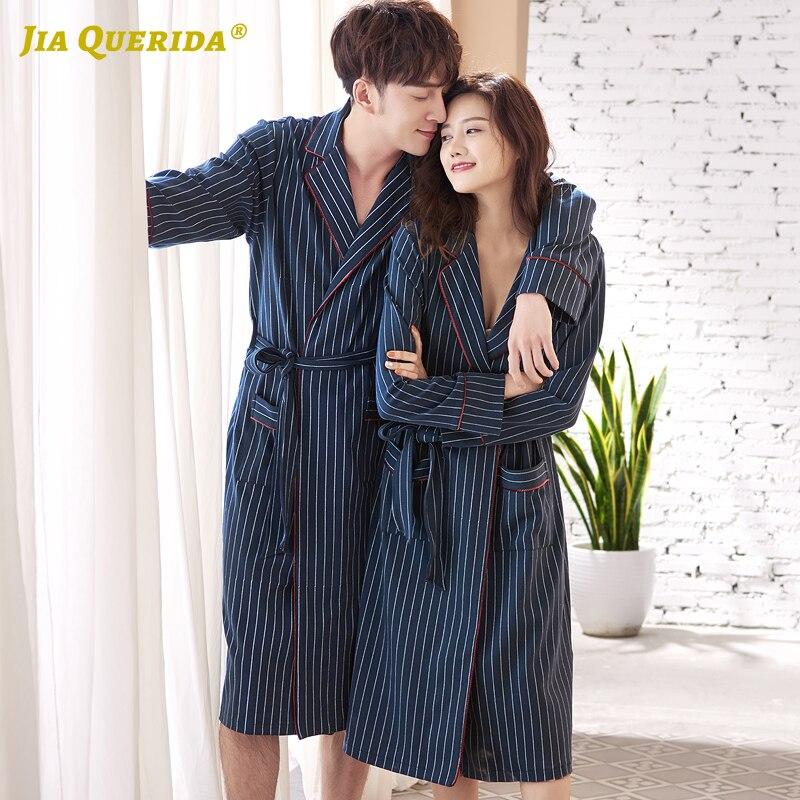 New Soft 100% Cotton Fashion Style Casual Style Yukata Kimono Bathrobe Housecoat Turn Down Collar Blue Men And Women Couple