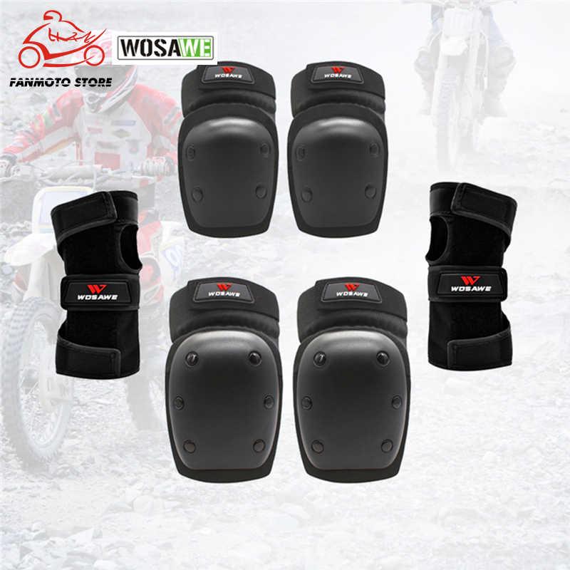 WOSAWE мотоциклетные наколенники для защиты запястья налокотника детский скутер для катания на лыжах, хоккея, спорта, катания на роликах