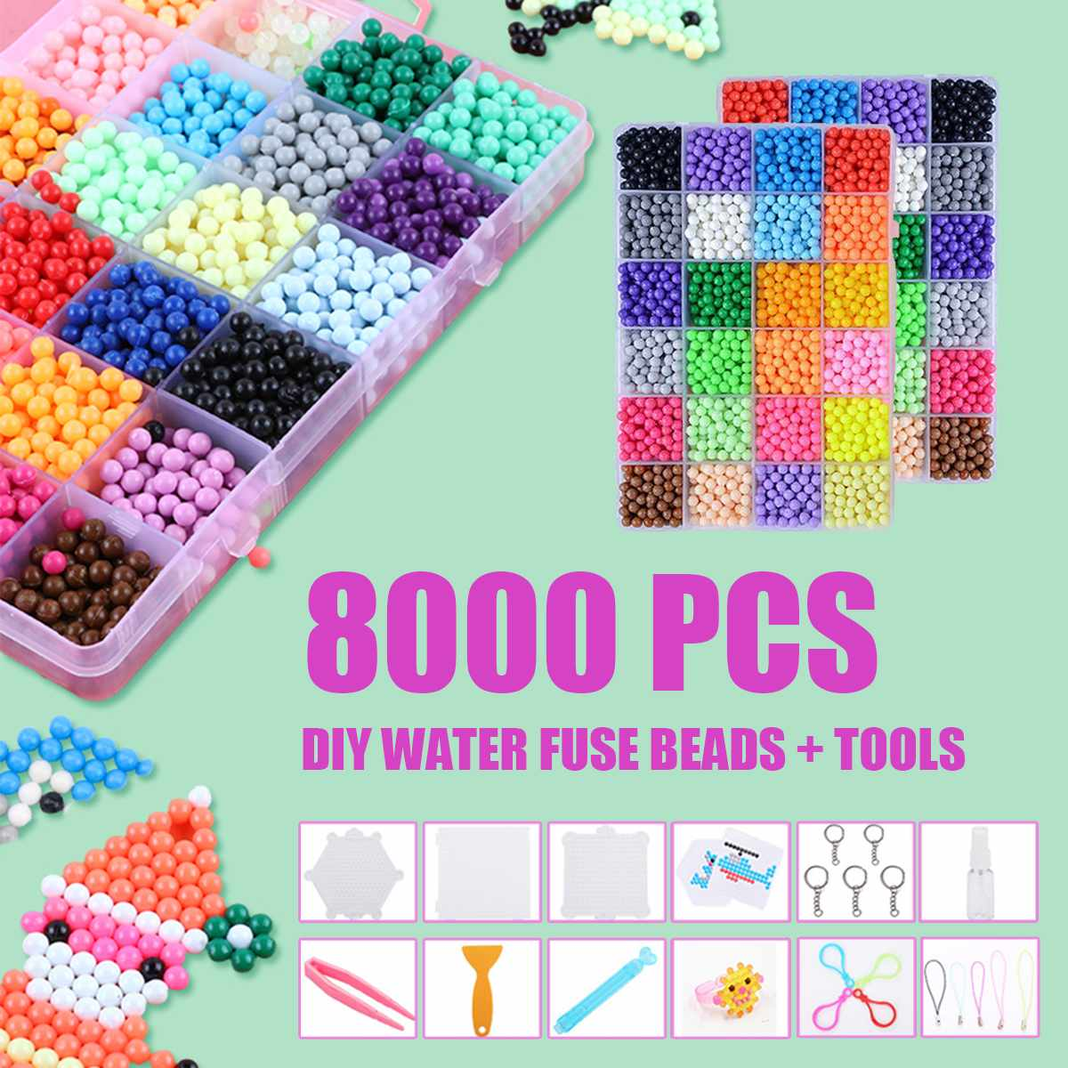 8000pcs 24 Colors Refill Beads Puzzle Crystal DIY Water Spray Beads Set Ball Games 3D Handmade Magic Toys For Children Gift