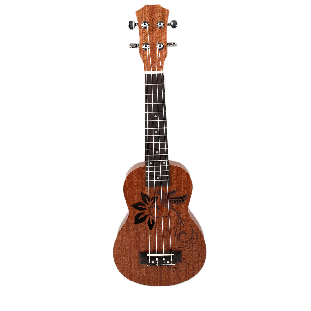Kids Gift Wooden Ukulele Brown Color Vintage Arch Windsor Ukulele Back Uke Flower/Birds Pattern Wood Ukulele