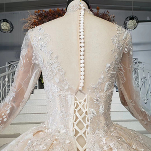 Image 5 - HTL958 luxury ball gown wedding dresses cathedral v neck appliques wedding gowns button back champagne vestidos novias boda 2020