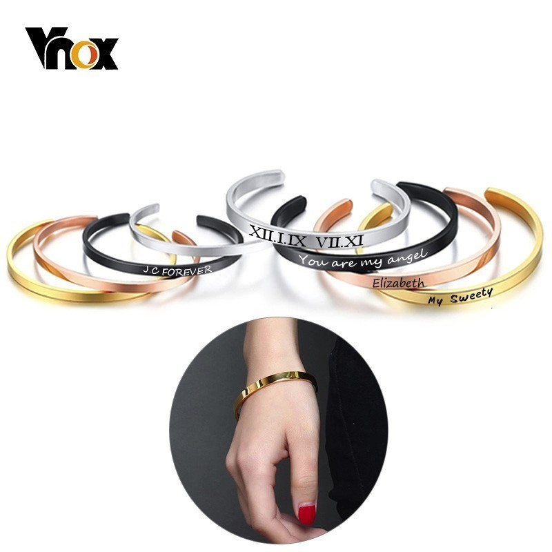 Vnox Free Personalize 4/6/8mm Simple Cuff Bracelets For Women Men Basic Stainless Steel Bangles Custom Name Pulseira Gift