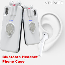NTSPACE Wireless Bluetooth Earphone Phone Case For iPhone X 7 8 6 6S Plus Bluetooth Headset Back Cover For iPhone XS MAX XR Case стоимость
