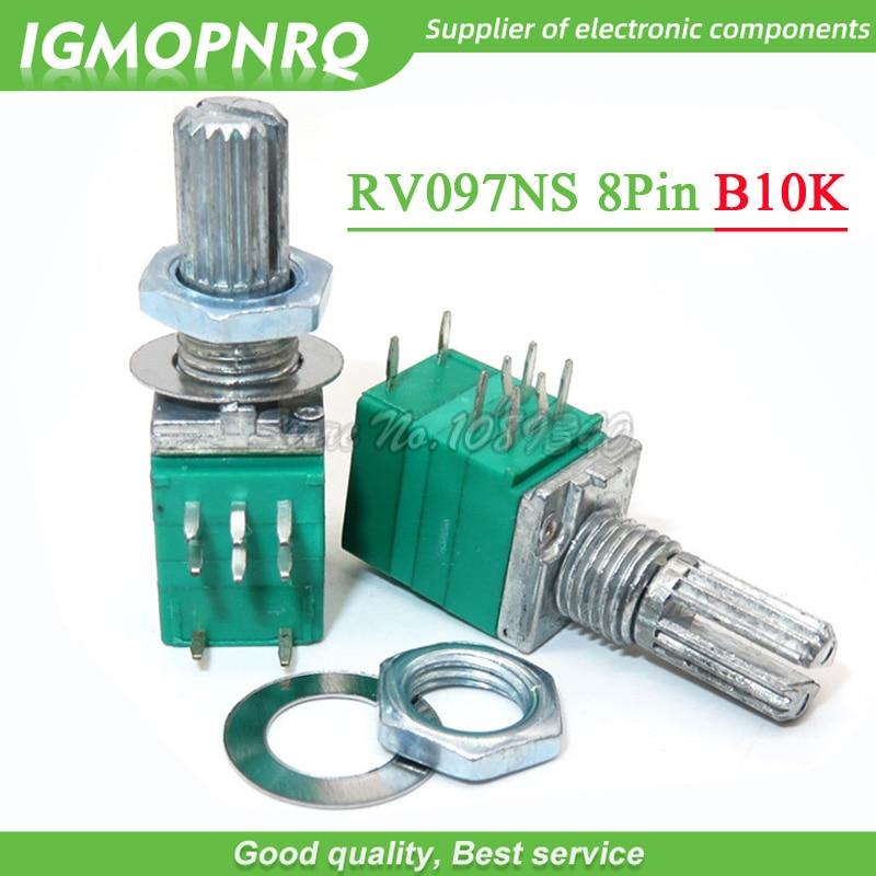 5PCS RV097NS 10K Single Linked B50K With A Switch Audio 8pin Shaft 15mm B10K Power Amplifier Sealing Potentiometer IGMOPNRQ
