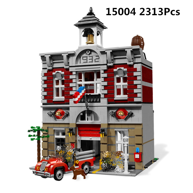 15004 84004 2313Pcs City Street Fire Brigade DIY Model Building Blocks Bricks education toys Kids gifts Compatible With <font><b>10197</b></font> image